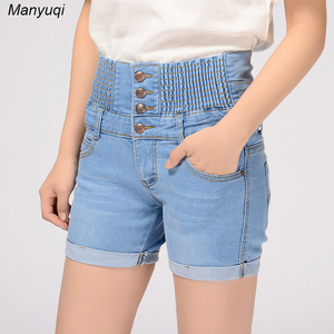 Summer new shorts women jeans straight skinny denim shorts with high waist abdomen women shorts jeans with breasted and roll