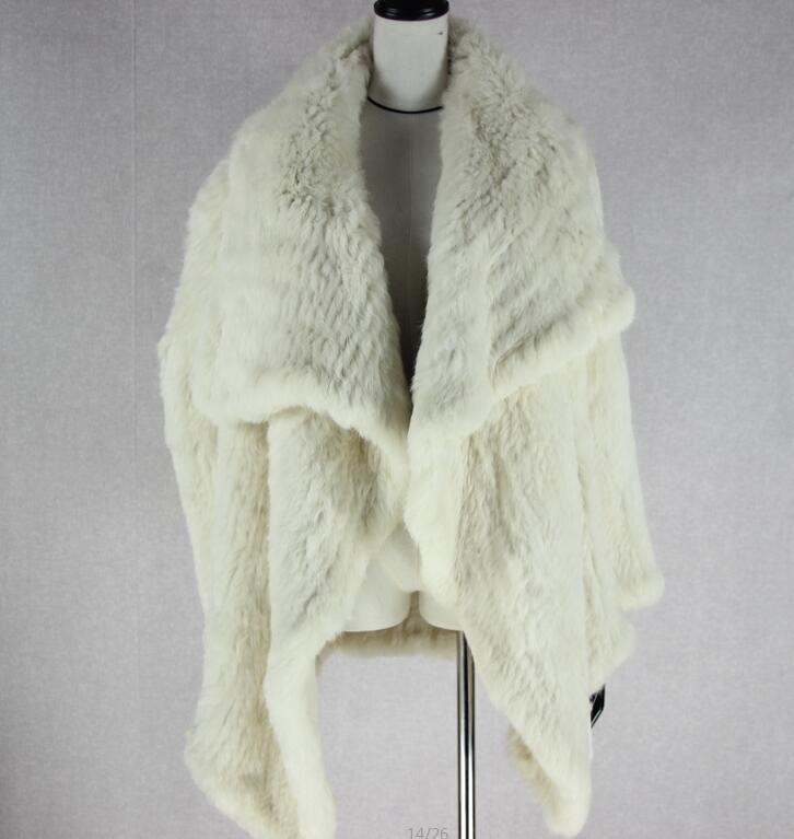 Трикотажный кардиган из натурального кроличьего меха, вязанные меховые накидки, шаль, пальто с кроличьим мехом, утепленное меховое пальто, женский модный стиль летучей мыши - Цвет: 3