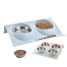 Stainless Steel Double Dog Bowls For Pet Puppy Food Water Feeder Non Spill Cat Feeding Dishes Drink Bowl Supplies