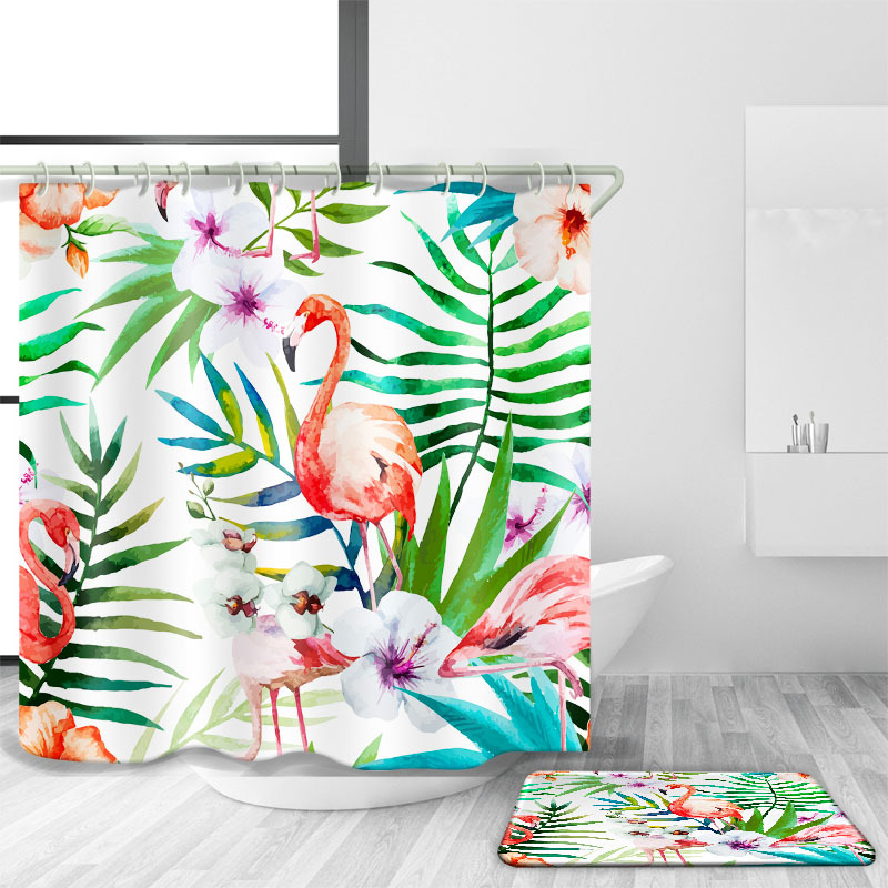 DFH ins style Flamingo EVA shower curtain 180 * 200 waterproof / Anti-mite shower curtain High-quality decorative bathroom