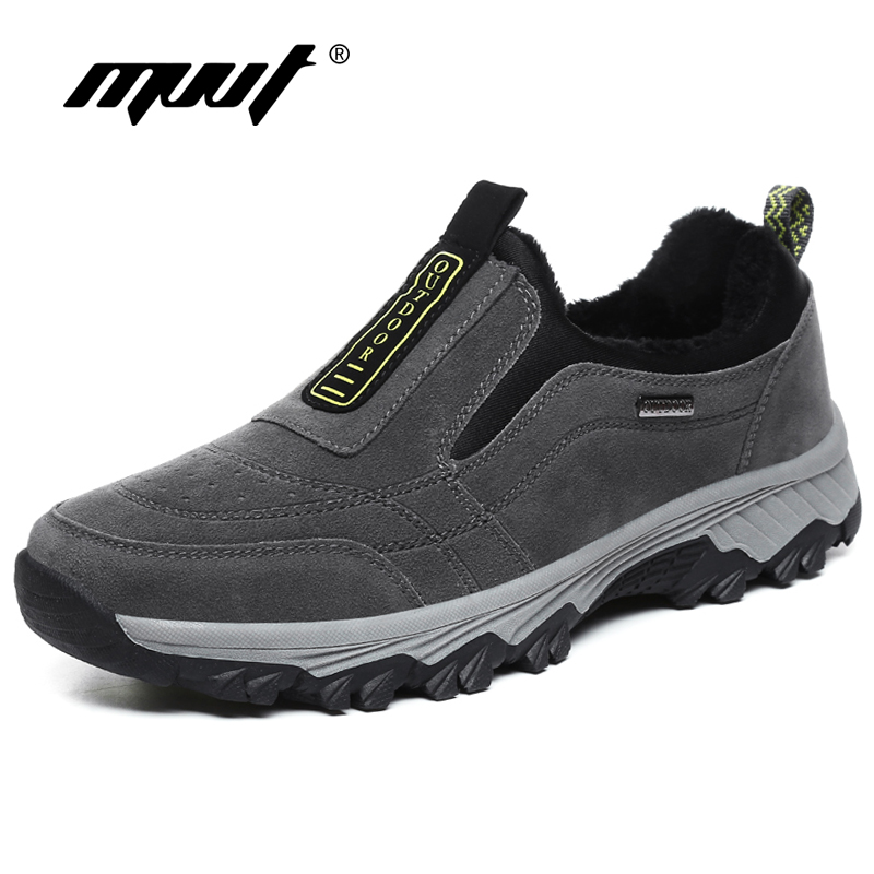 MVVT Winter Suede Leather Men Shoes With Fur Warm Men Casual Shoes Outdoor Men Loafers Non-slip Snow Shoes Hot Sale Men Footwear