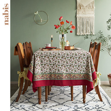 large vintage floral linen retangular print flowers tablecloth high quality decorative dining table coffetable cover cloth