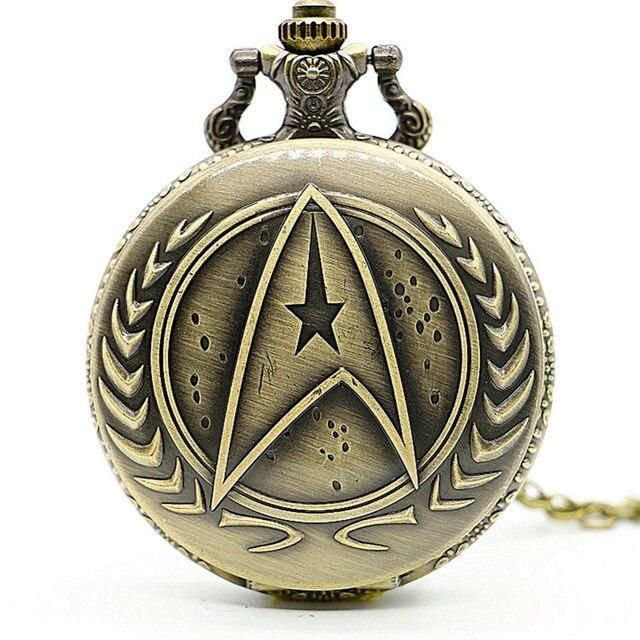 Retro Bronze Star Trek Quartz Pocket Watch Analog Pendant Necklace Men Women Wat