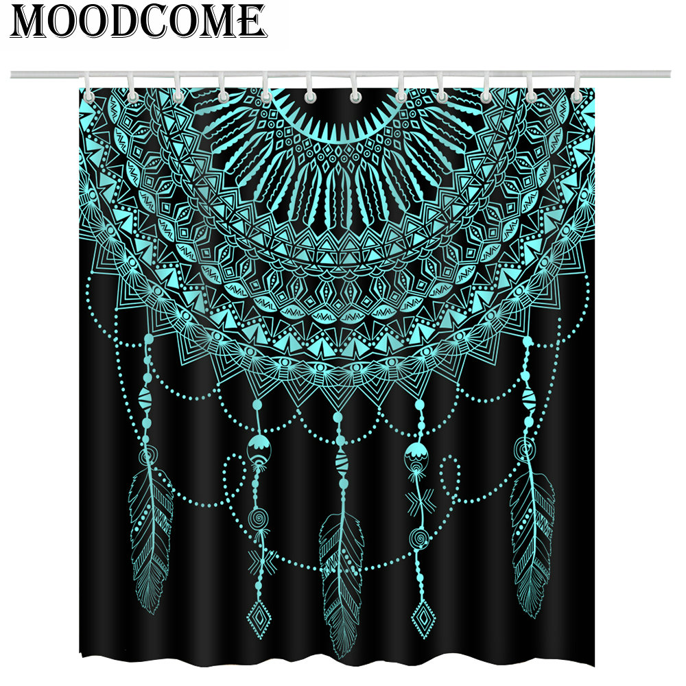 Indian Mandala Shower Curtain Feather Pendant Bathroom Curtain Mandala Feather Bath Curtain Fabric Polyester Curtain