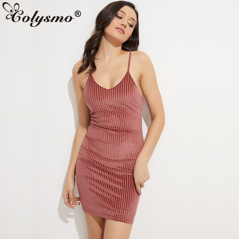 Colysmo Sexy Deep V Plunge Back Lace Up Bodycon Dress Ribbed Women Autumn Velvet Dress Woman Mini Winter Dresses Vestidos  New