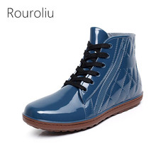 New Mens Fashion PVC Lace-up Rain Boots Flat Heels Anti-slip Warm Rainboots Ankle Waterproof Water Shoes Size 40-44 #TR2