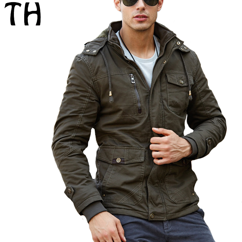 ФОТО Slim Fit Thick Warm Winter Parkas Men Pockets Hooded Tactical Military Jackets and Coats Jaqueta Masculina Veste Homme #161584
