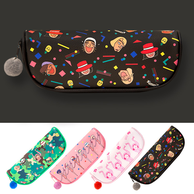 Jamie Notes Large Capacity Kawaii Pencil Bag PU Leather Strange Uncle Girls Pencil Case For School Makeup Bag Cute Stationery 10pcs lot cute fruit pudding large capacity pu pencil bag leather pen case canetas stationery school supplies watermelon