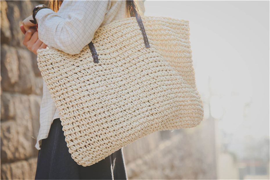 Women Handbag Summer Beach Bag Rattan Woven Handmade Knitted Straw Large Capacity Totes Leather Women Shoulder Bag Bohemia New 7