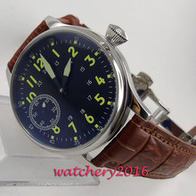 44mm Sterile Black Dial Stainless steel Case Luminous Hands 17 Jewels 6497 Hand Winding Movement men's Watch цена и фото
