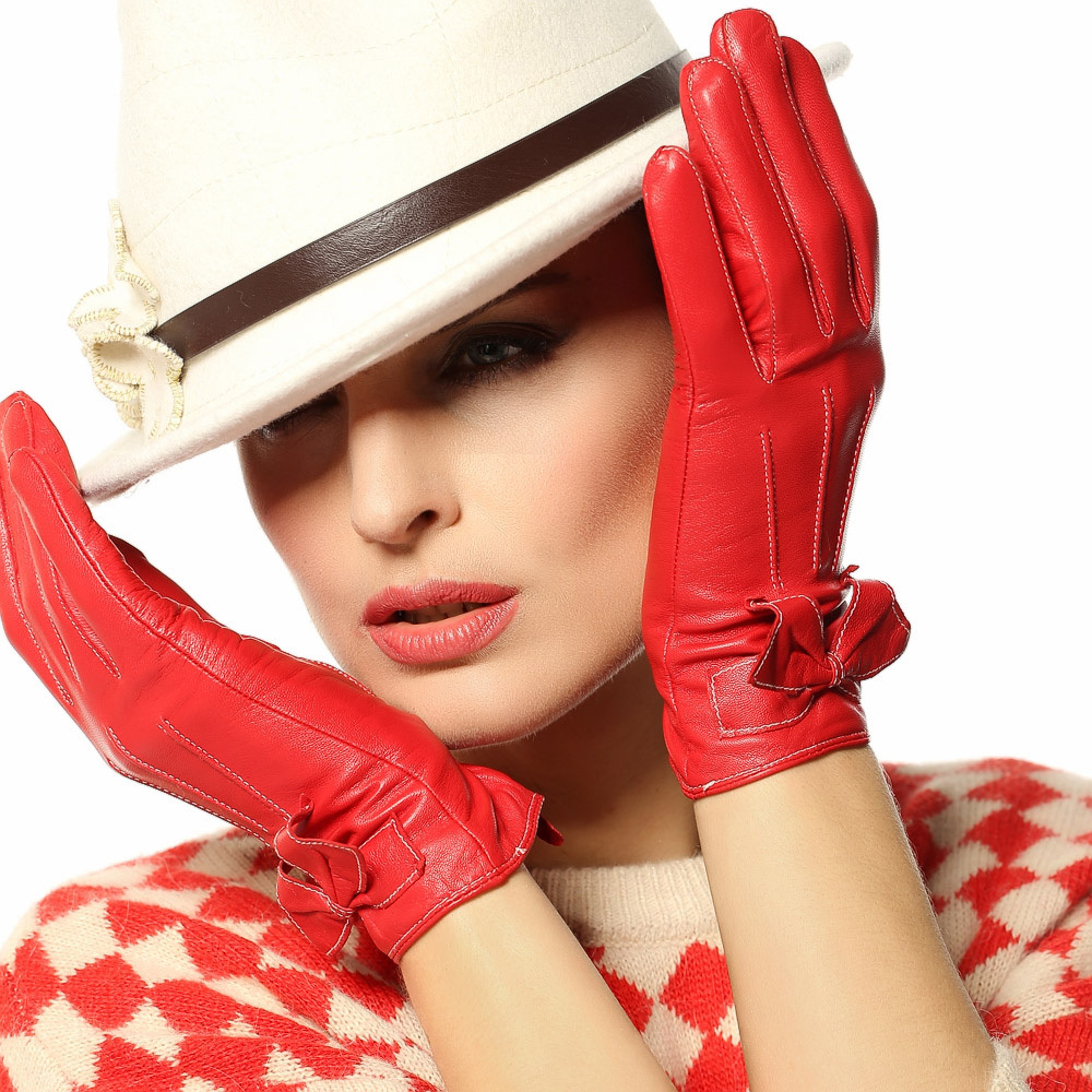 2014 winter leather gloves fashion women Genuine leather gloves wrist 3 colors warm winter sheepskin gloves