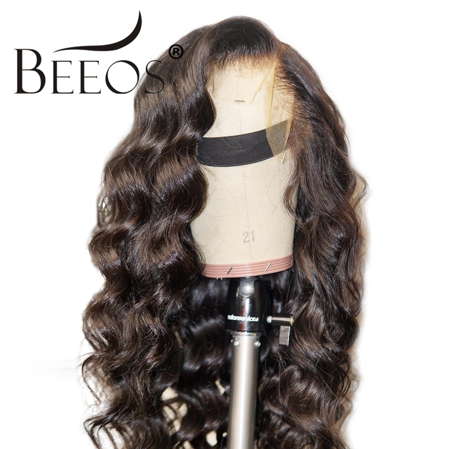 Beeos Wavy 13 6 Deep Part Brazilian Lace Front Human Hair Wigs Pre Plucked Remy Hair