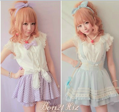 Princesse douce lolita blouse BoBON21 design original exclusif belle dentelle papillon manches lapin oreille T1026 chemise à lacets