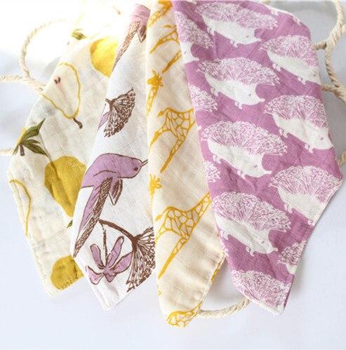 Paño de lavado de fibra de bambú para bebé 27 cm * 27 cm 4 capas de tela de muselina multifuncional de algodón para bebé niña bebé 3 piezas