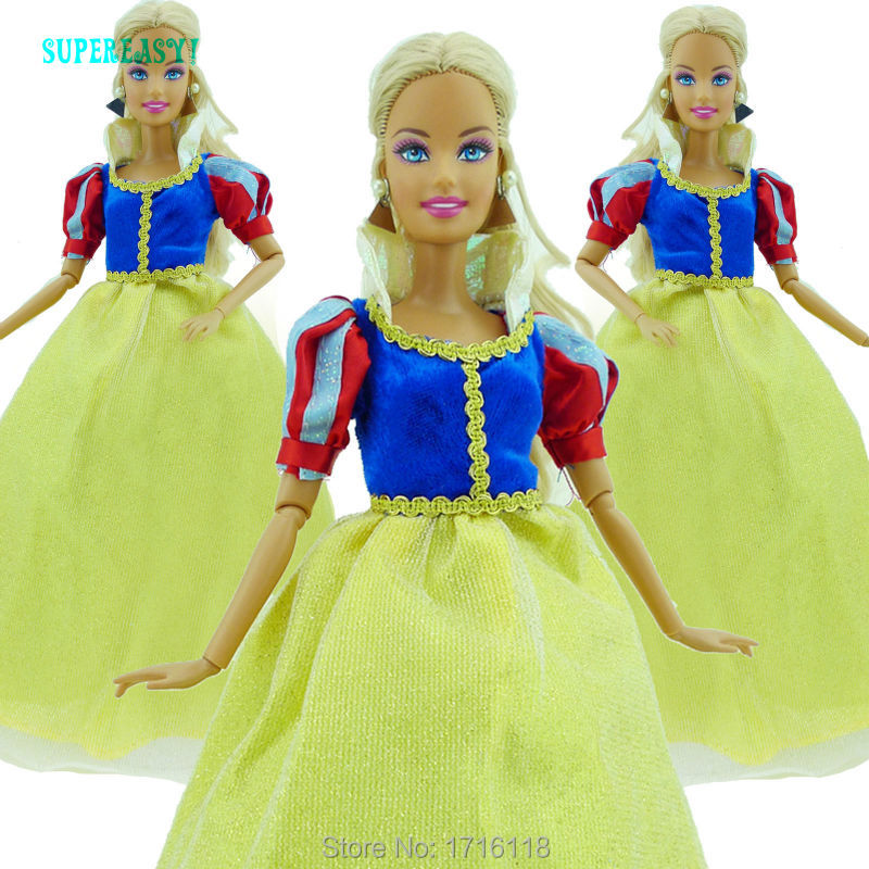 Gorgeous Princess Dress Wedding Party Dance Gown Copy Snow White Clothes For Barbie Doll FR Kurhn Puppet 11 12 inch Kid Toy Gift
