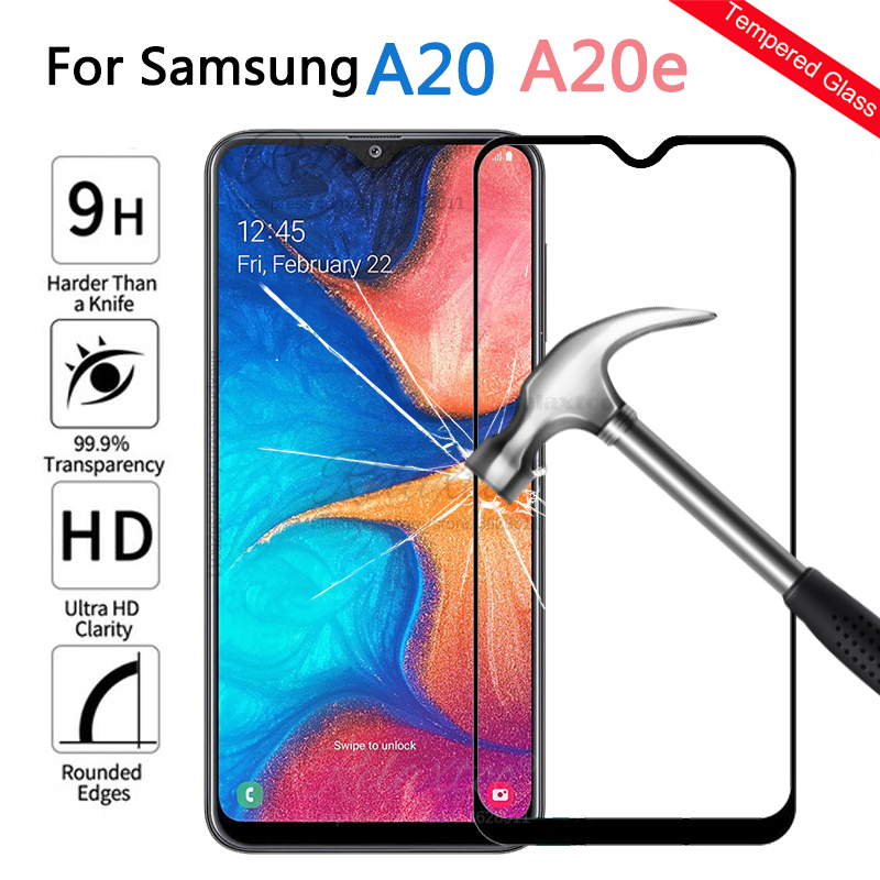 Protective Glass On For Samsung Galaxy A20 A20E Screen Protector Tempered Safety Glass For Samsung A 20 A205F Full Cover Film 9H