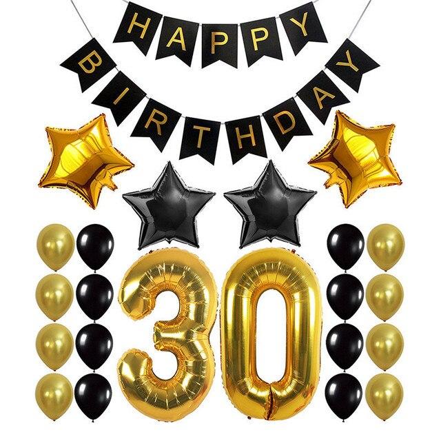 Us 1207 18 Offneueste Gold Schwarz Anzahl Folienballons Große Stellige Helium Ballons Aufblasbare Hochzeit Dekoration Geburtstag Party Weihnachten