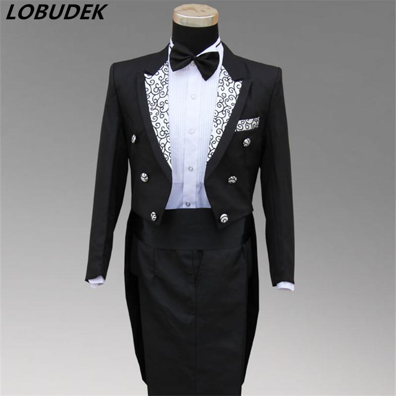 Man Wedding Dress Groom White Black Suit Male Formal Tuxedo Dress  Costume Male Formal Dress Suits Party For Singer Bar Formal