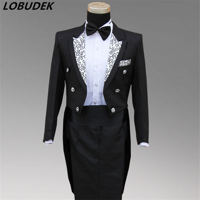 Man Wedding Dress Groom White Black Suit Male Formal Tuxedo Costume Suits