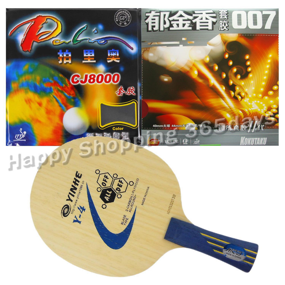 Original Pro Table Tennis Combo Racket Galaxy Yinhe Y-4 With Palio CJ8000 2-Side Loop And Kokutaku 007-II Long Shakehand FL