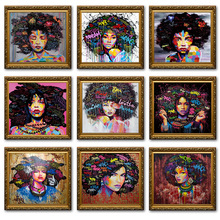 2019 Art Graffiti Murals African Girl Abstract Inkjet Canvas Painting By Numbers Cuadros Decoracion Salon Quadro