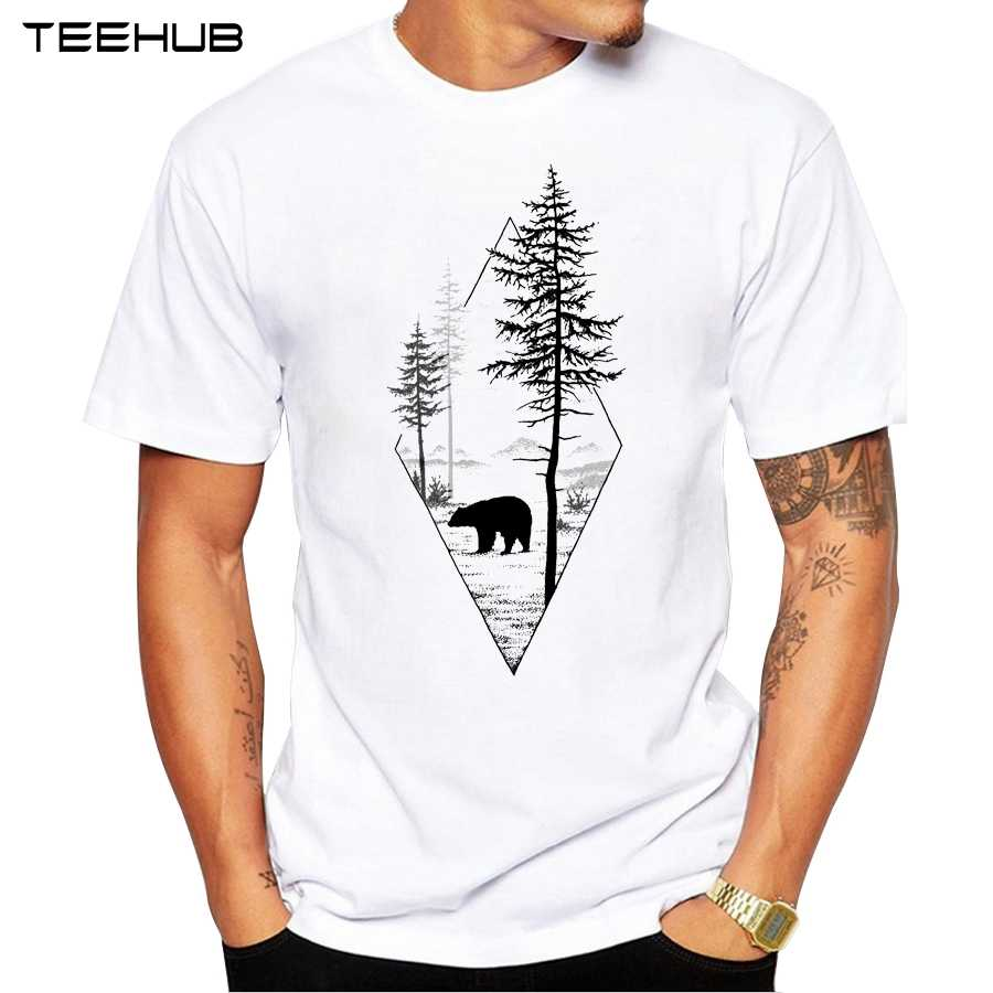 2019 Forest Bear Men T-Shirt Short Sleeve Casual T Shirt Hipster Black Bear Printed Tee O-Neck Summer Tops