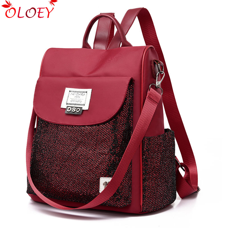 2019 New Personality Sequins Oxford Cloth Backpack Female Anti-theft High Quality Ladies Backpack Lightweight Fashion Waterproof