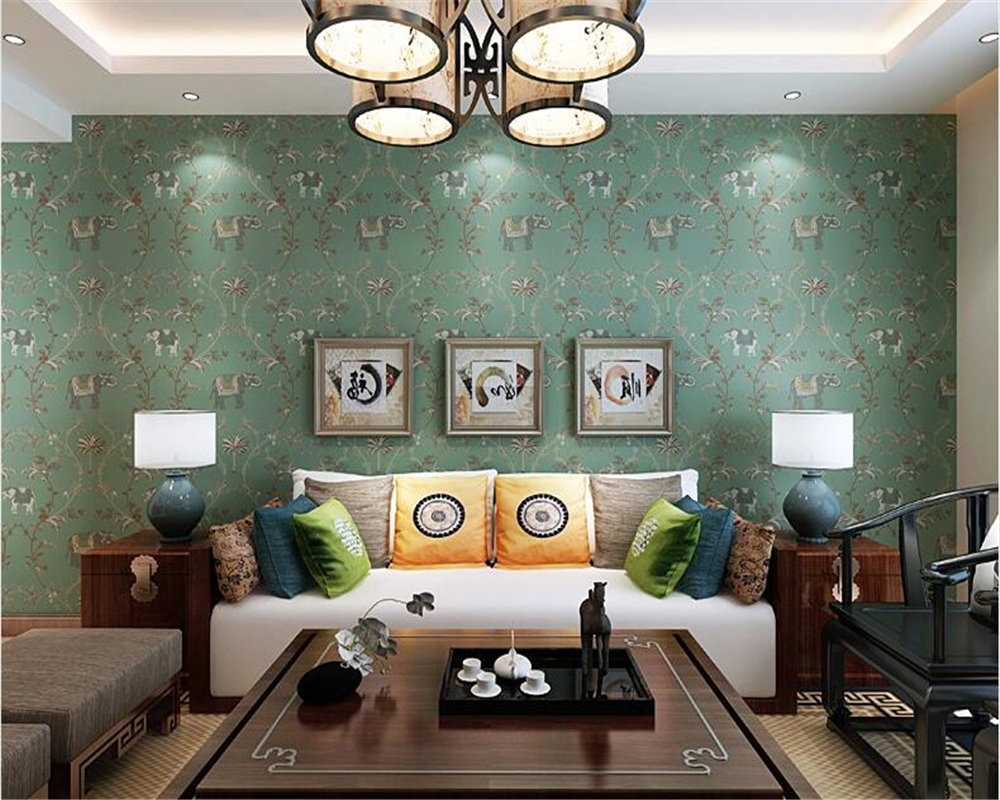 beibehang Vintage Southeast Asian Wallpaper Imitation Embroidery Auspicious Elephant Bedroom Living room background 3d wallpaper free shipping southeast asian style elephant mural background wall thickened wear high quality living room bedroom wallpaper