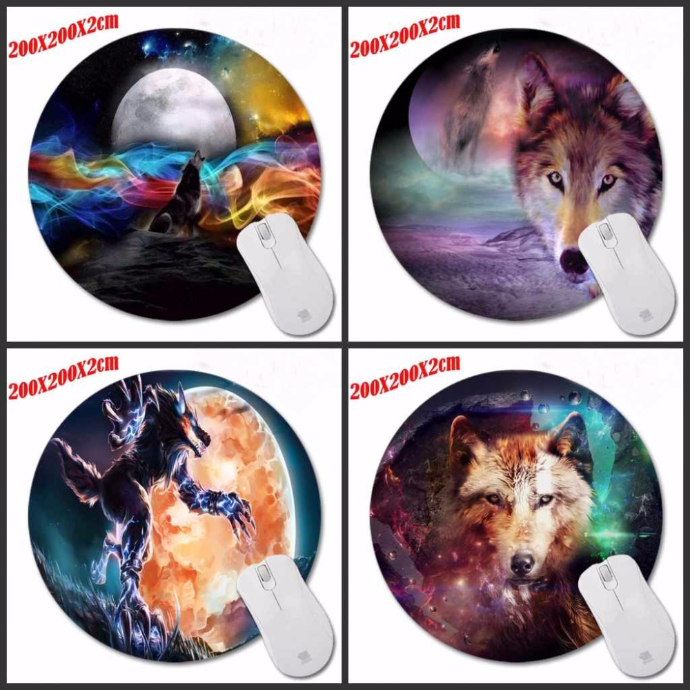 Color Wolf And Moon High Quality Desktop Pad Round Mousepads Design Mouse Pad for Gamer Gaming Mouse Mat For PC Computer Laptop