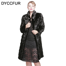 DYCCFUR 100cm long real mink fur jacket winter warm fur coat Genuine detachable fur clothes women natural two style fur coats