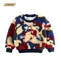 Camuflagem Cordeiros Lã Pullover Camisolas Para os Bebés E Meninos 2017 de Inverno de Espessura O-pescoço T-shirt Casual Roupa Das Crianças