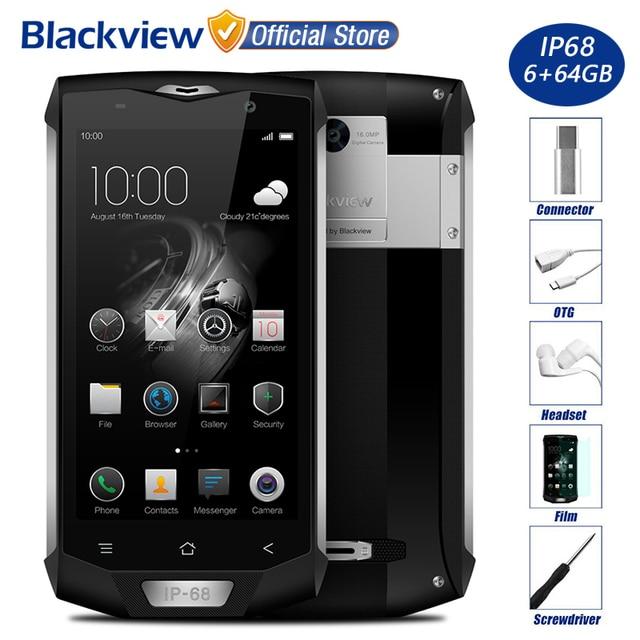 """Blackview BV8000 Pro IP68 Водонепроницаемый 4 г мобильный телефон 5.0 """"FHD MTK6757 Восьмиядерный 6 ГБ Оперативная память 64 ГБ Встроенная память 16MP Cam сбоку отпечатков пальцев ID"""
