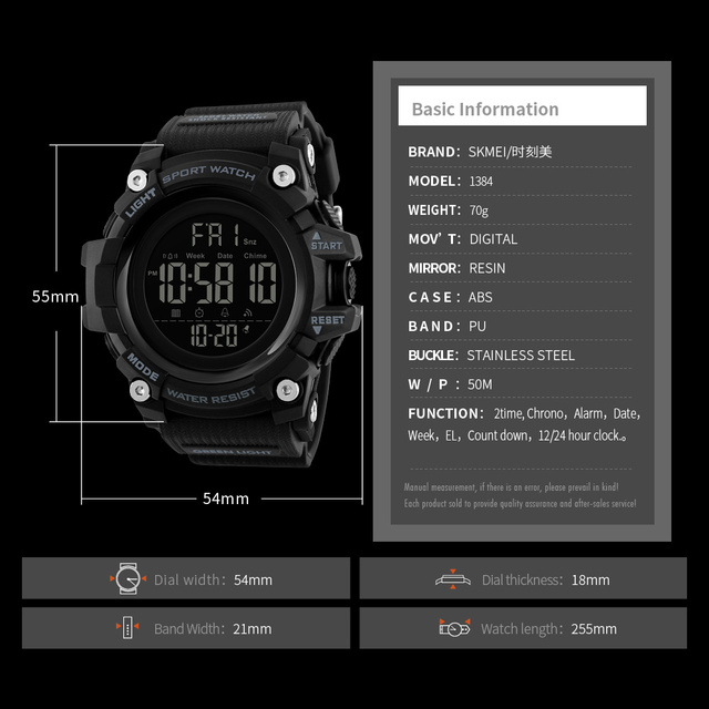 SKMEI Countdown Stopwatch Sport Watch Mens Watches Top Brand Luxury Men Wrist Watch Waterproof LED Electronic Digital Male Watch