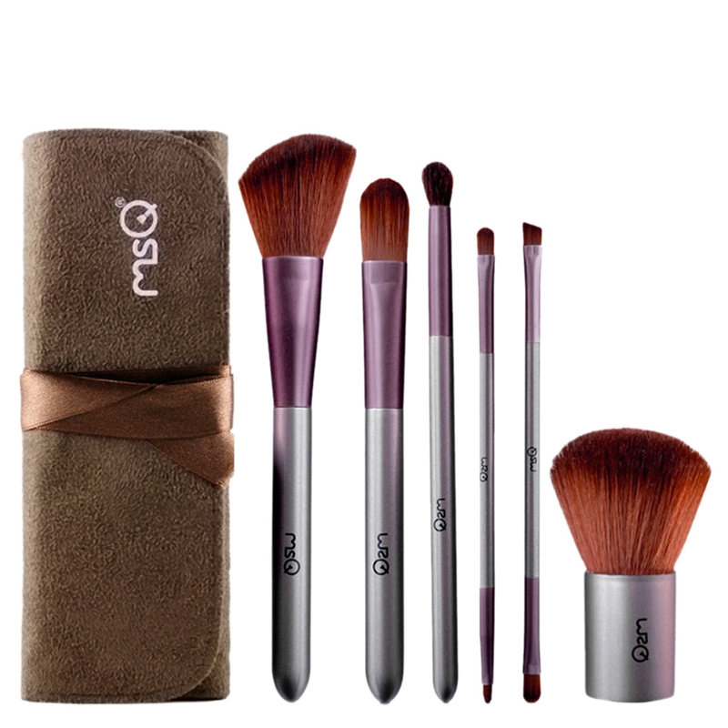 Msq 6Pcs Professional Makeup Brushes Set With Case Artificial Fiber Makeup Brush Set Lip Brush Small Eye Shadow Brush Wooden H