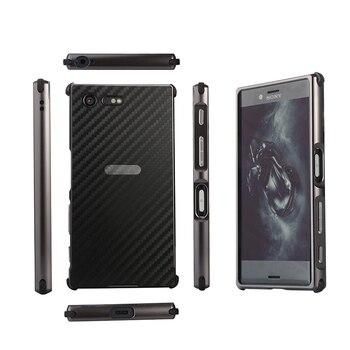 Для Sony Xperia X Compact XZS XZ1 XA1 Ультра чехол металлическая рамка + карбоновое волокно задняя крышка PC Твердый Чехол для Xperia XZ Премиум Тонкий чехол