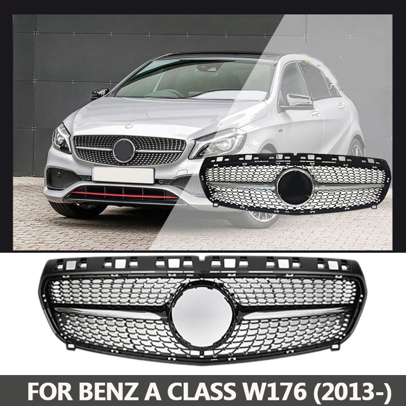 Diamond Grille For Mercedes A Class A180 A260 A200 Grill W176 Glossy Black Without Emblem Badge ABS Replacement 2013 2014 2015 недорго, оригинальная цена