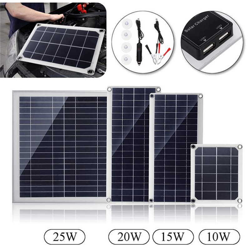 15/20/25W Watts Monocrystalline Solar Panel 0A Solar Charger+DC Line Charge Mobile Phone MP3 Pad Other USB-charged Device