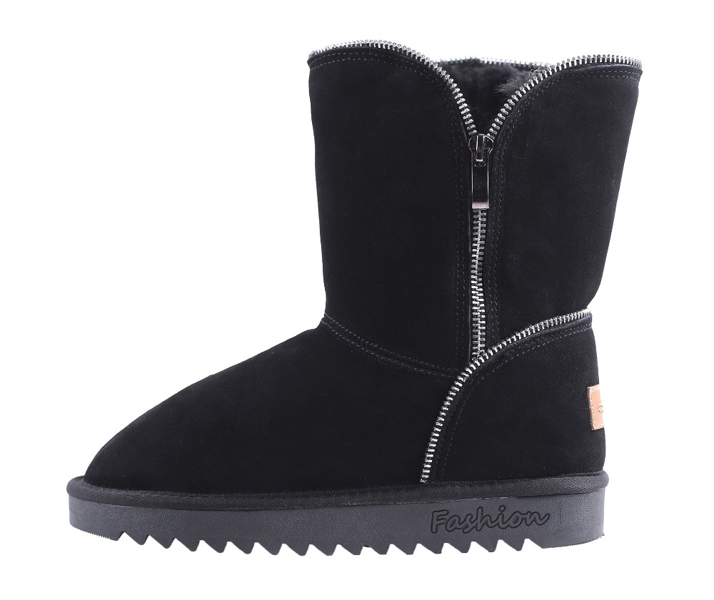 CICO Wool Women Winter Boots Cow Suede Women Snow Boots Fashion Women Mid Calf Boots with Zipper Decoration double buckle cross straps mid calf boots