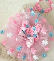 1 3Y Toddler Kids Baby Girls 3D Flowers Princess Dresses Sleevless Flower Tulle Dress Back Big Bow Very Small Size