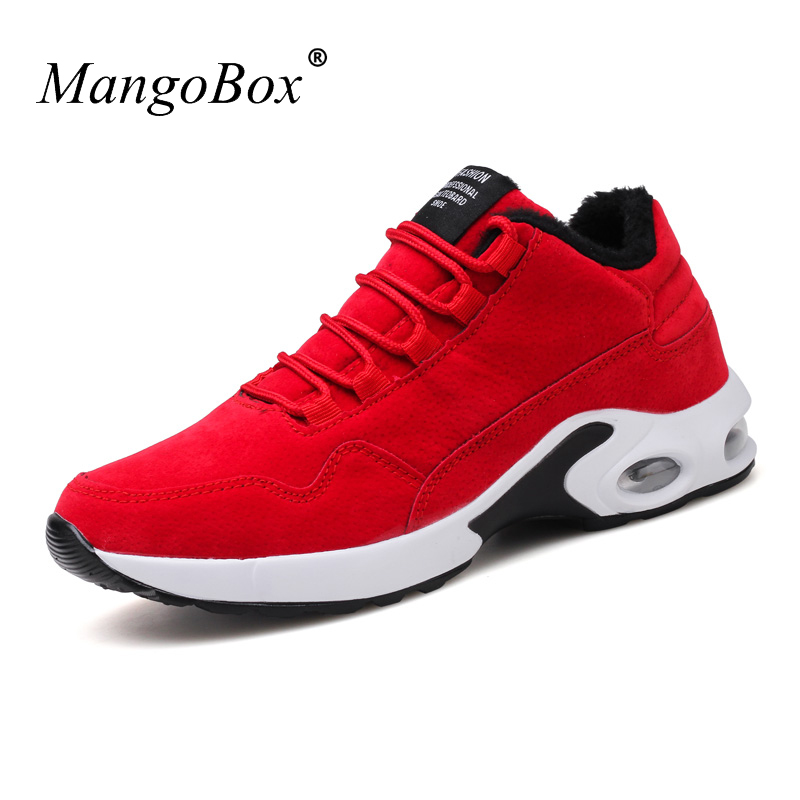 Mangobox Winter Warm Running Shoes Mens Sneakers With Fur Black Red Sport Trainers Comfortable Gym Shoes Men for Winter