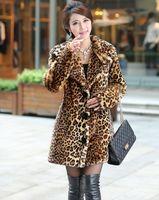 Caliente-venta del nuevo invierno coreano abrigo de piel sintética, grueso Leopard visón lujo atractivo mujer abrigo, más tamaño XS ~ 2XL