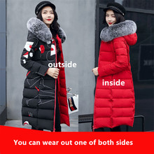 Women winter thicker Parka fashion cotton overcoat girls warm woolen collar 3XL plus size reversible wear pros and cons sides