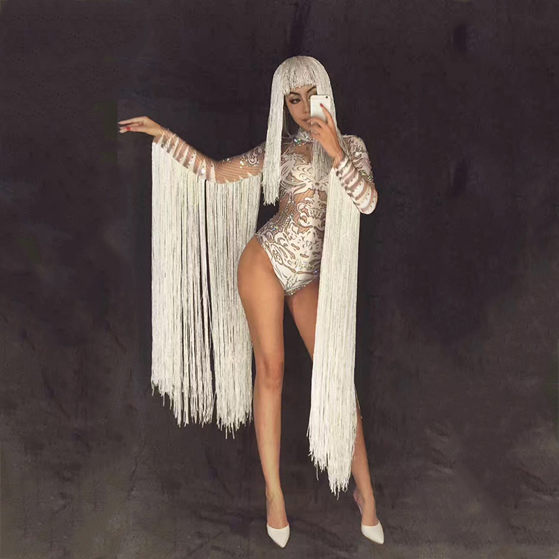 tassels White crystals bodysuit female costumes nightclub bar sexy Jumpsuits rhinestones outfit performance singer DJ show