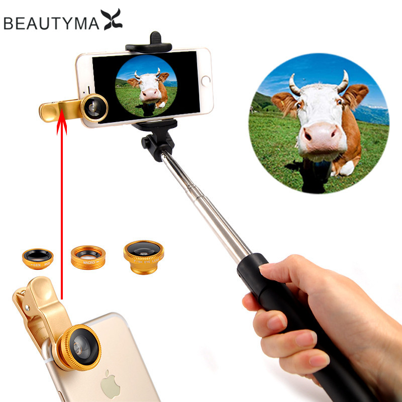 wired selfie stick phone lens fish eye macro wide angle lens selfie monopod for iphone 5 5s 6 6s. Black Bedroom Furniture Sets. Home Design Ideas