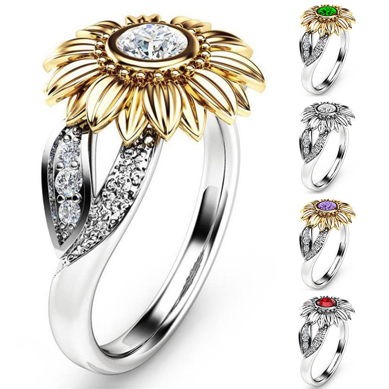 LNRRABC new 9 Colors Unique Sunflower Crystal Wedding Rings Silvery Exquisite New Arriva ...