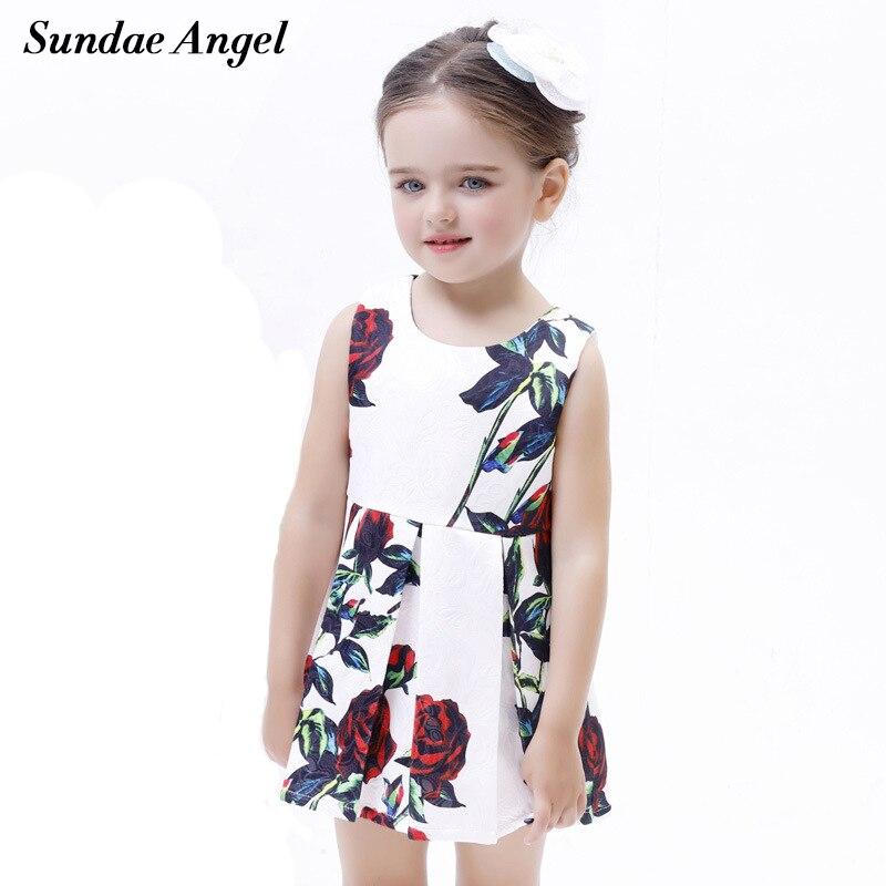 Sundae Angel Girl Dress 2018 New Summer Kids Clothes Children Clothing Brand Rose Flowers Print Sleeveless Baby Girl Dress Party женская куртка every girl is an angel xz123