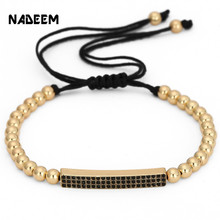 NADEEM Fashion Micro Pave CZ Crystal Gold Color Bar Charm Bracelet Jewelry Braided 5mm Copper Bead Brand Bracelet For Women Girl цена 2017