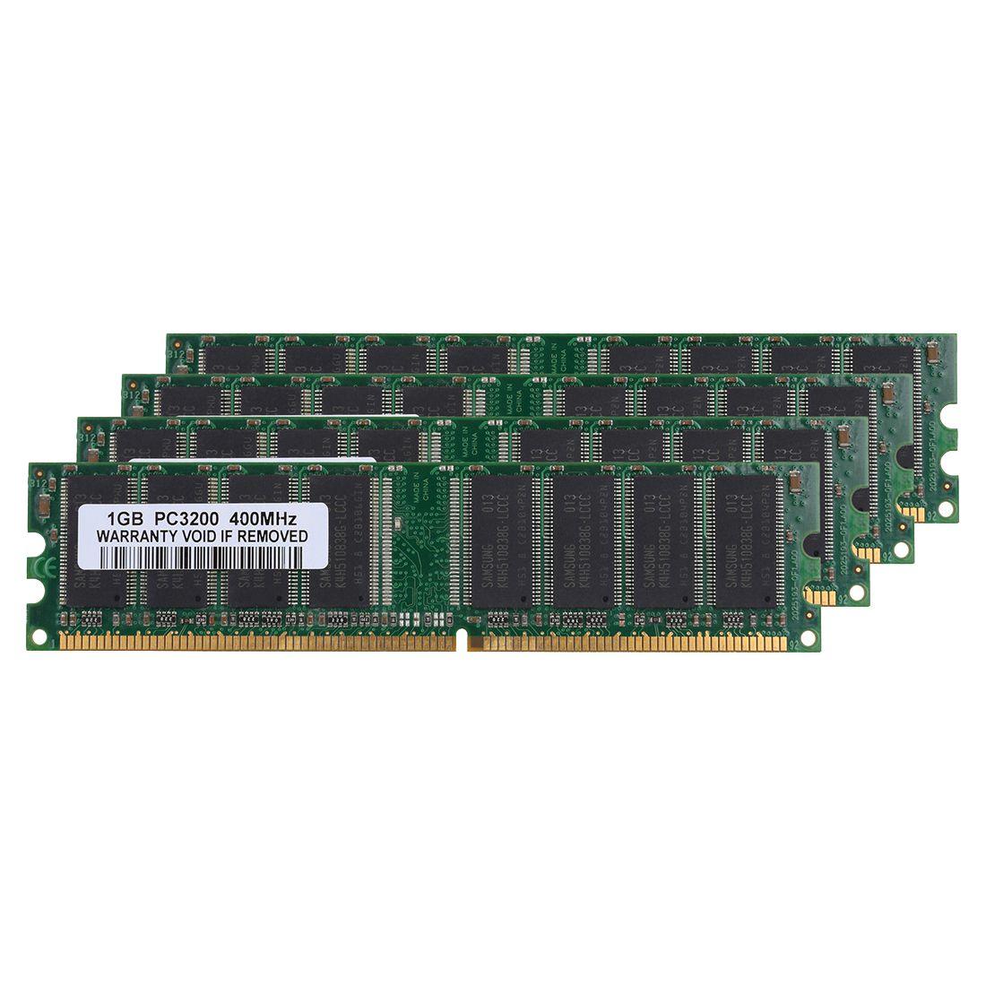 4 gb Kit (4x1 gb) DDR1-400MHz PC Desktop 184pin Memória PC1-3200 Não-ECC DIMM Ram, verde