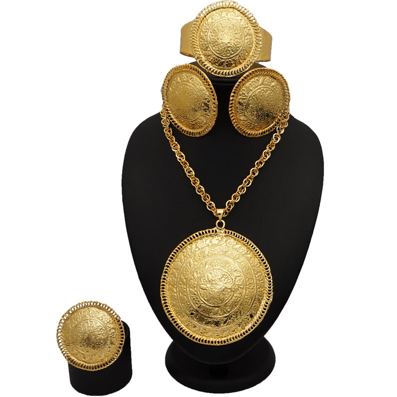 African BIG Jewelry Sets Wedding Bridal Party Jewelry Set 24k Gold Fine Jewelry Sets African Women Fashion Necklace Bracelet