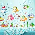 Peces nemo mar pegatinas de dibujos animados etiqueta de la pared para ducha de azulejos en el baño para niños niños bebé baño
